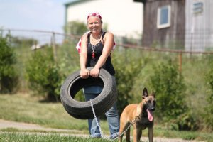 Normal people don't attach their dogs to tires and have them chase a guy in a suit for fun, but I do!