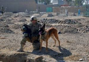 SSGT Tim Roberts with his dog Aalien a few years ago, deployed in Afghanistan.