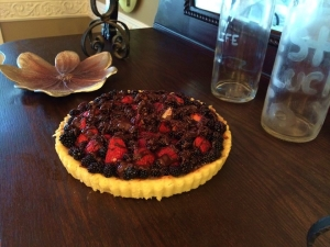 My tart on the Antique Serving Buffet :)