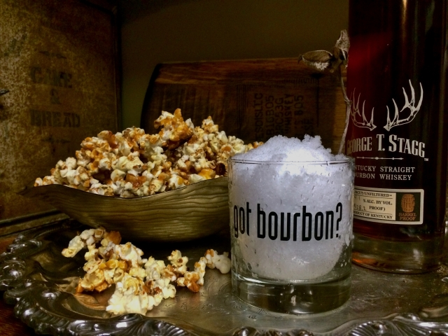 Buffalo Wing Popcorn and Bourbon. You really don't need much else to survive!