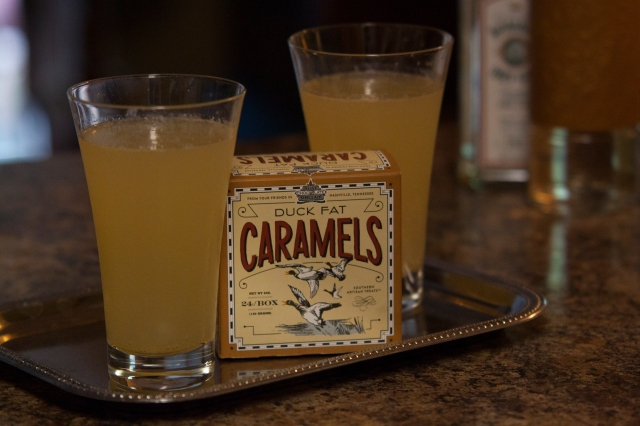 One with gin and one with rum. They look a like, but have decidedly different flavors. You'll have to see what works for you! The Duck Fat Carmel's are the perfect  accompaniment.