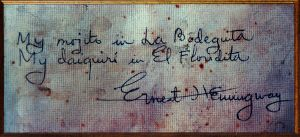 The napkin that Hemingway wrote on.