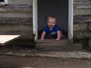 Yes, they had a child's size cabin and Bur had to play in it!